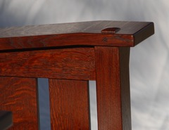 Detail pinned through-tenon on arm.